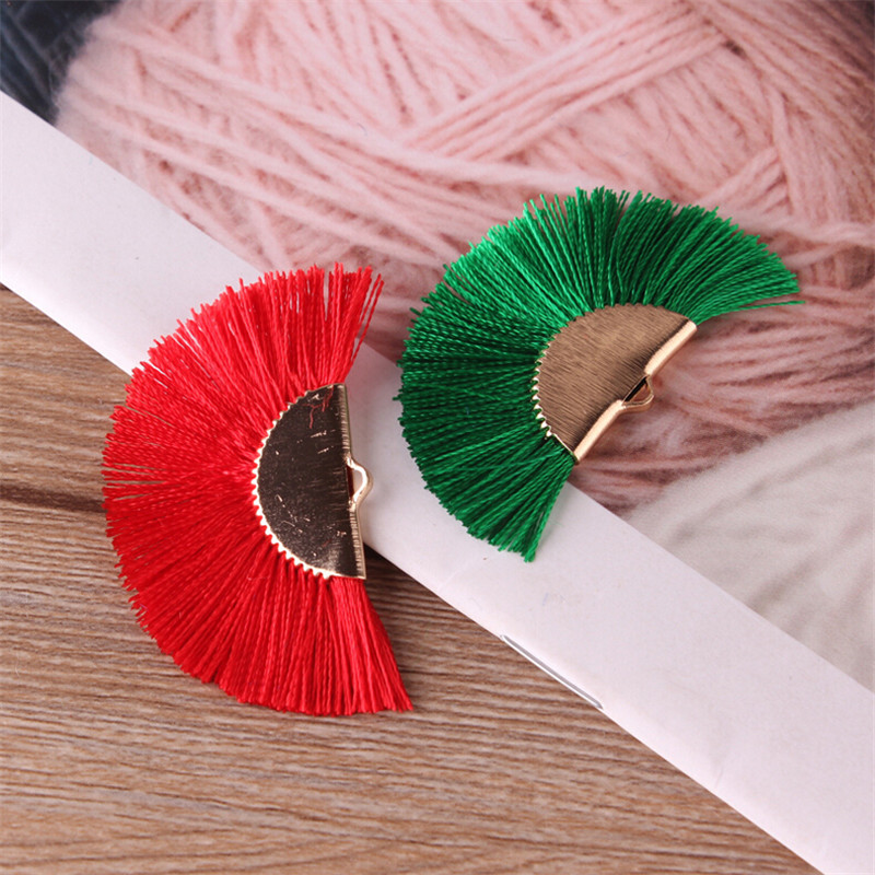 2pcs lot 45mm multi fan silk tassel for diy earrings garment jewelry making charms craft small tassels with gold cap accessories in Jewelry Findings Components from Jewelry Accessories