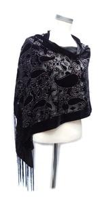 Image 3 - グリッターカシューヒジャーブスカーフベルベット黒スカーフ女性のためのイスラム教徒のギフトパシュミナ冬ポンチョスペインショール送料無料