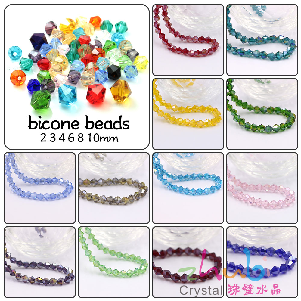 Zhubi Crystal Glass Bicone Loose Beads 2/3/4/6mm Czech Beads Jewelry Making Supplies Seed Beads For Needlework Silicone Teething Refreshing And Enriching The Saliva Beads Beads & Jewelry Making