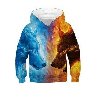 Image 5 - 3D Drucken Wolf Mädchen Jungen Hoodies Mantel Teens Herbst Oberbekleidung Kinder Kleidung 8 10 12 Jahre Mit Kapuze Sweatshirt Langarm pullover