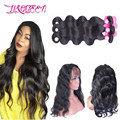 360 Lace Frontal With Bundles Brazilian Virgin Hair With Closure Body Wave 3 Bundles Human Hair 360 Lace Frontal With Baby Hair