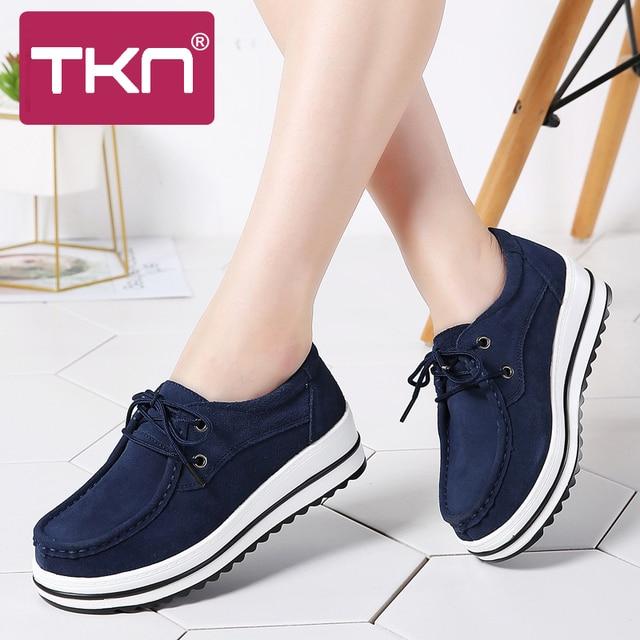 feb6941a5 TKN 2019 весенние женские кроссовки на платформе обувь на плоской подошве  кожа замша толстая подошва криперы Мокасины Chaussure Femme женская обувь  526