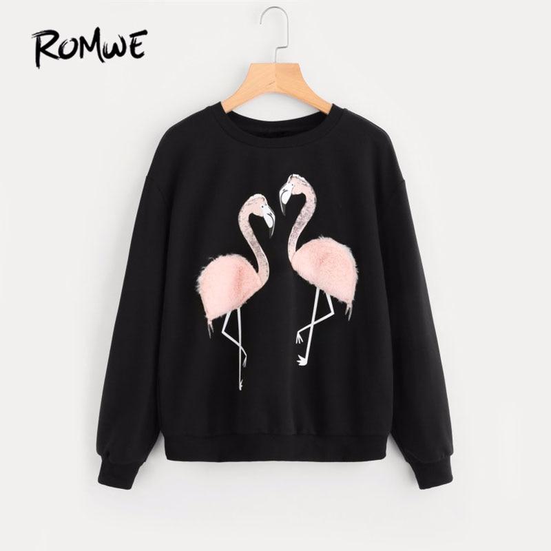 Comprar ROMWE para mujer de piel sintética de Flamingo sudadera otoño manga  larga Jersey 2019 negro de las mujeres ronda cuello Casual sudadera Online  ... 0964f94eb31c