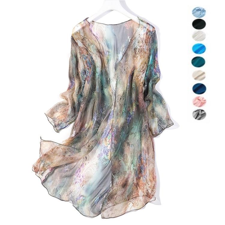 Women's 100% Silk Print Long Thin Top Kimono Cardigan Shawl Coat Blouse Summer Beach Cover Up one size JN005