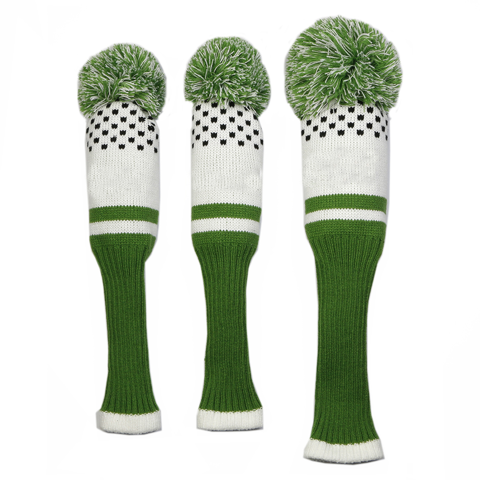 Image 3 - New Style 3pcs/set 3 color Stripe Kniting Golf Driver Wooden Head Covers Knit Wool 1 3 5 Fairway Protect Headcover-in Club Heads from Sports & Entertainment