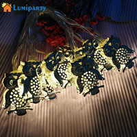 LumiParty 10 LED/20 LED Iron Owl Shape String Lights Holiday Decorative Fairy Light Battery Operated Christmas Lights