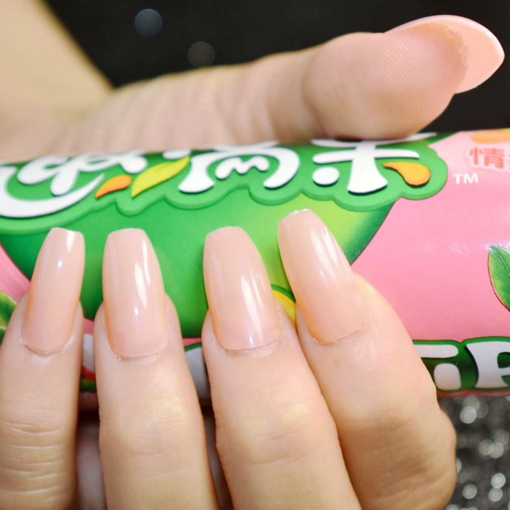 Pure Nude Candy Acrylic Nails Coffin Design Full Cover Flat Press On ...