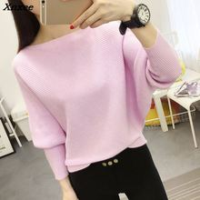 women sweaters and pullovers knitted bat sleeve ribbed for 2018 Autumn And Winter sweater female pullover Xnxee