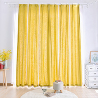 Finished linen shading simple modern living room bedroom linen yellow curtain countryside