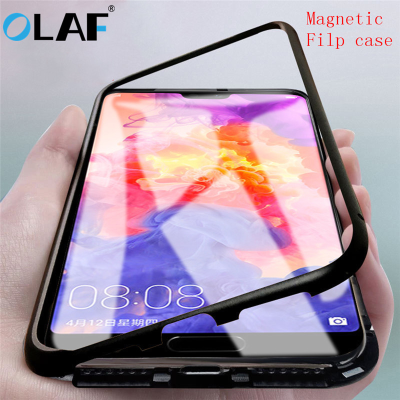 OLAF Tempered Glass Magnetic Filp Phone Case For Huawei P20 Pro Metal Frame Bumper Case For iPhone 6 6S 8 7 Plus X Accessories