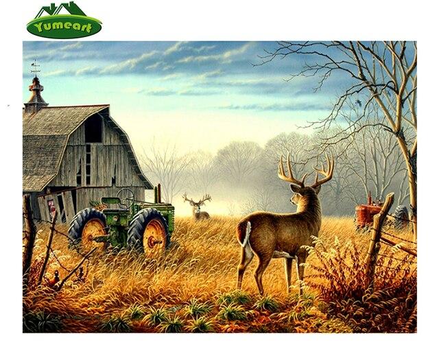 5D Diamond Lukisan Rusa & Traktor Cross Stitch Diamond Bordir Pemandangan Farmer House Rhinestone Mosaik Yhall Stiker