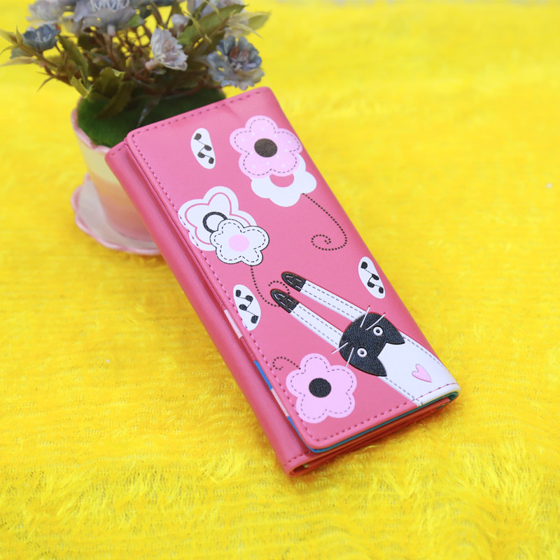 Lovely cartoon prints long Wallet Lady mini Zipper Clutch Female Travel card holder bag Coin Cash pocket womens wallet and purse 3