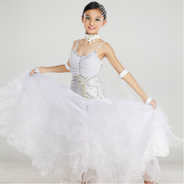 New Arrival Elegant Children Kids Girls Pink White Tango Ballroom Viennese Waltz Dress Waltz Dance Costumes