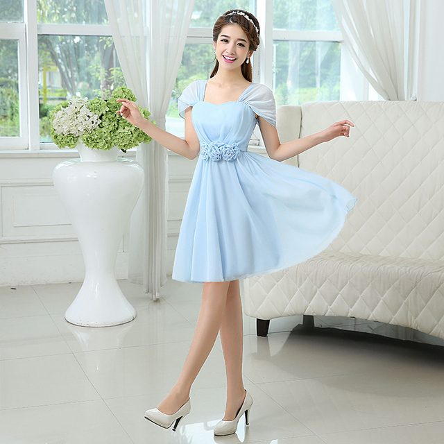 04db3b00c7c7 Women Wholesale Cheap Bridesmaid Dress Under $30 Chiffon Sky Blue Gowns For  Bridesmaids With Sleeve Dress