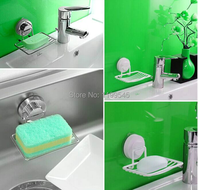 Free shipping Dehub vacuum suction cup  soap rack seamless holder dish box-Silver