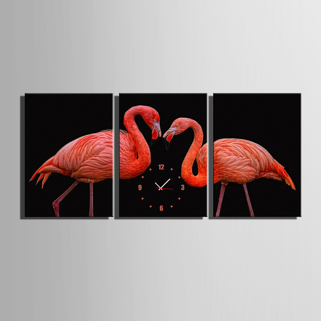 Free Shipping Art Print Red Bird Clock in Canvas 3pcs wall clock