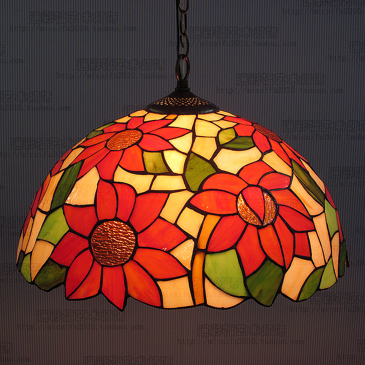 16inch European tiffany style sunflower Stained Glass Suspended Luminaire E27 110-240V Chain Pendant lights for Dining Room16inch European tiffany style sunflower Stained Glass Suspended Luminaire E27 110-240V Chain Pendant lights for Dining Room