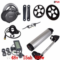 48V 500W Bafang BBS02 mid drive electric motor kit+ 48V 15AH 500W battery 48V 15AH use samsung cell electric bike battery