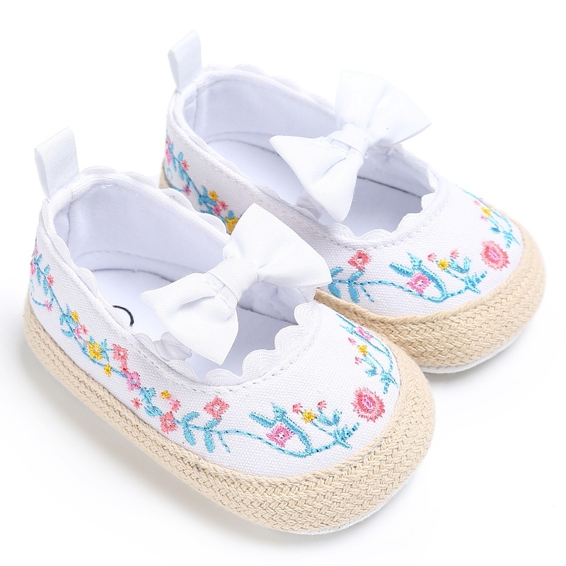 Newborn Baby Girls Shoes Sweet Princess Bow First Walkers Crib Bebe Soft Soled Anti-Slip Kids First Walkers New