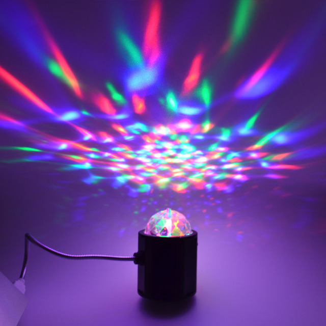 USB Mini RGB Stage light Unieke 2 in 1 LED Auto roterende Party DJ ...