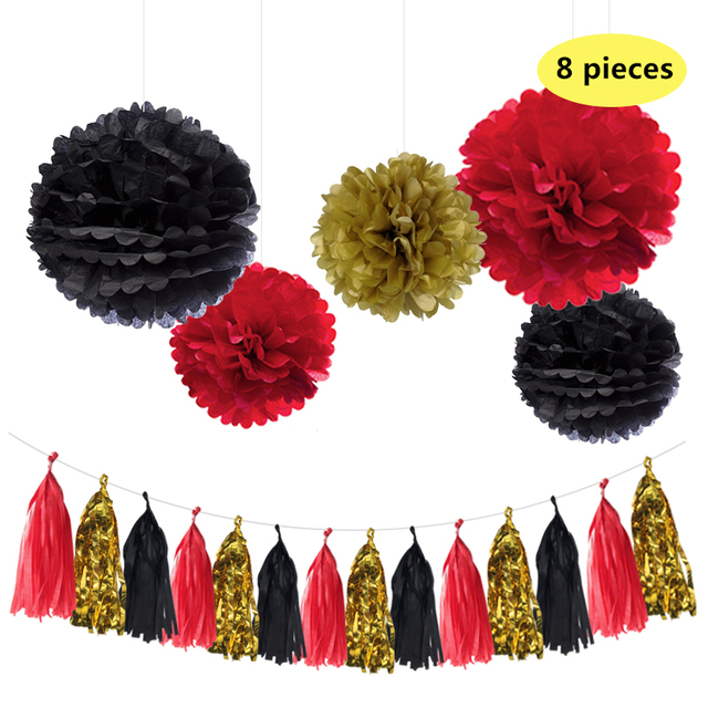 nicro mixed gold black red party tissue pom poms paper tassel garland diy golden anniversary halloween eve decorations - Halloween Pom Poms