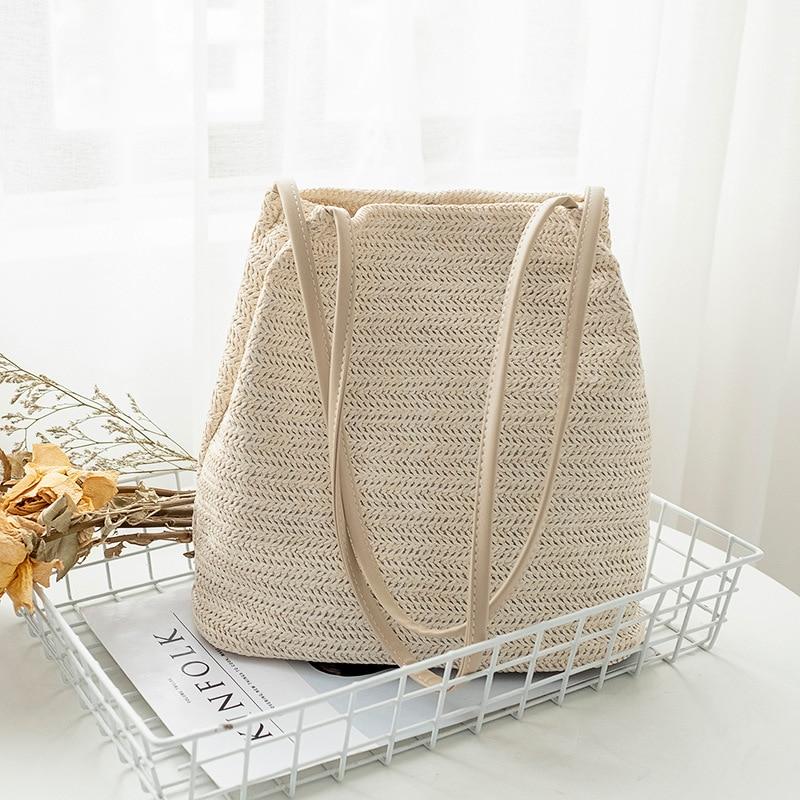 Literary Style Bag Handbags Women Summer Rattan Bag Handmade Woven Beach Handbag New Fashion