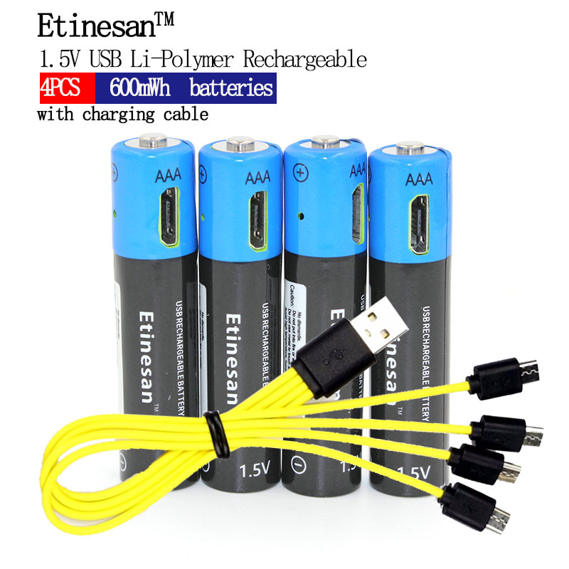 Etinesan 1.5V AAA 600mWh Li-polymer Rechargeable Lithium Ion Battery Batteries New Revolution!