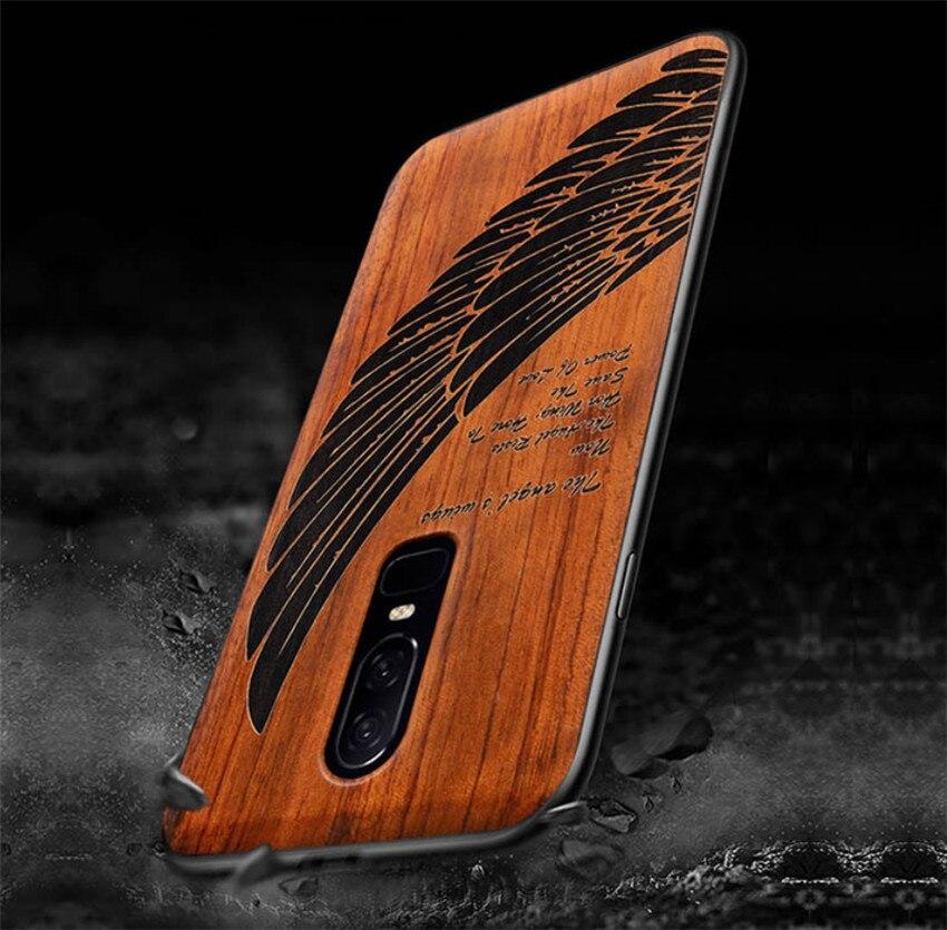 Diy oneplus 6 caso feito-à-medida de madeira real funda um mais 6 rosewood tpu à prova de choque capa traseira telefone escudo oneplus6 5t caso