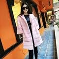 Искусственного Меха Куртка Женщин Зима Сгущает Пушистый Shaggy Pink Искусственного Шуба С Капюшоном Искусственный Долго Мех Кролика Леди Куртки пальто
