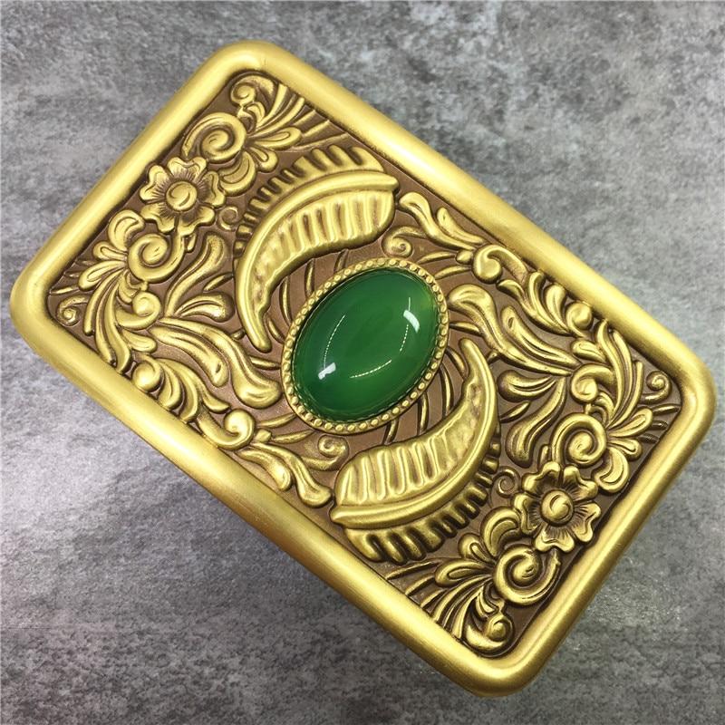 Chinese Style Craved Brass Belt Buckles Arabesque Belt Buckle For Men Thick Leather Belt Solid Brass Jade Belt Buckle BK0121