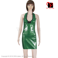 Latex Dress Rubber Latex dress low cut Metallic Green Sexy mini top Playsuit Backless Bodycon Bow Shift plus size XXXL SY 021