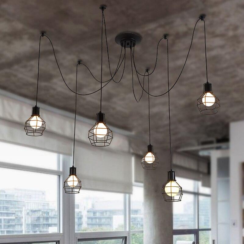 krajina osobnost klece světla + žárovky jídelna Lustry retro průmyslové lustry lampy zvedání malé klece