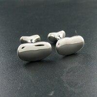 12x19mm bean shape rhodium silver plated brass novelty cufflinks fashion sleeve buttons shirt cuff links 1500072