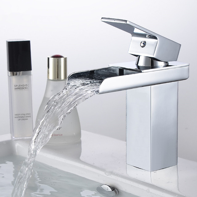 Polished Chrome Br Waterfall Bathroom Basin Faucet Square Vanity Sink Mixer Tap With Hose Free S