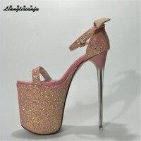 LLXF Summer Zapatos Plus 34 41 42 43 Stiletto Fashion Women 20cm Ultra High Thin Heel