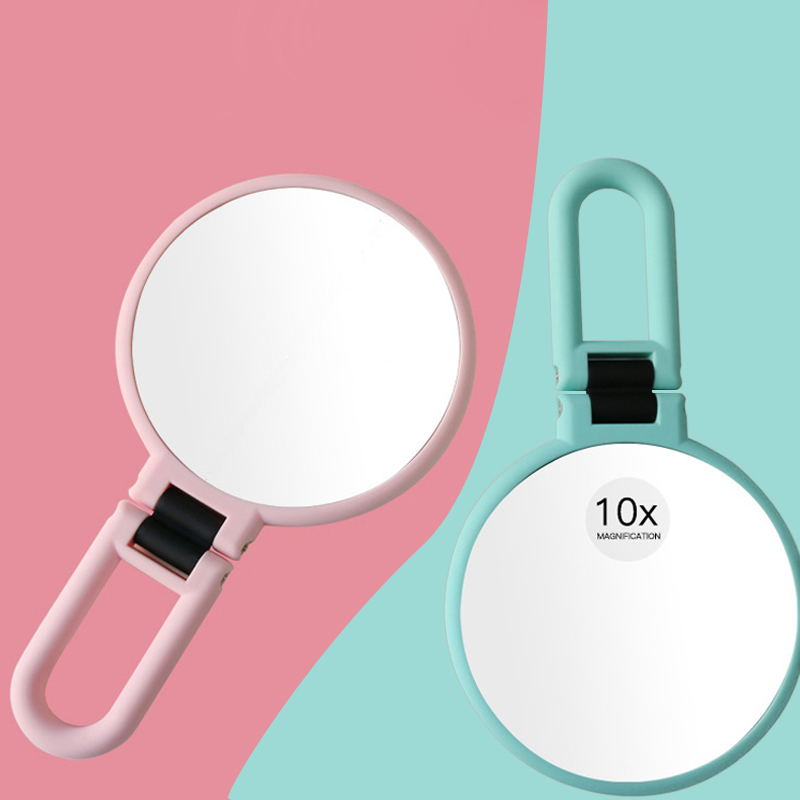 4.8inch Travel Hand 10X Magnifying Makeup Mirror Double Sided Foldabel 360 Rotation Round Handheld Cosmetic Mirrors With Handle makeup mirror with 16 leds 10x magnifying portable desktop travel mirror wall suction mounted 360 degree rotation round mirror