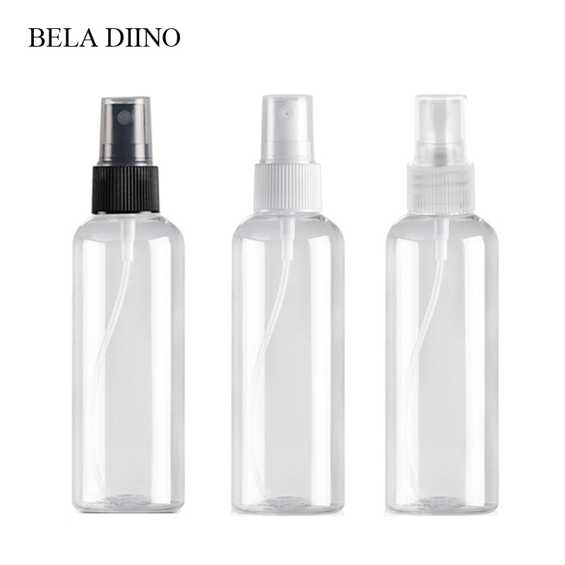 5Pcs Fine Mist Plastic PET Spray Bottle 100ml Travel Cosmetic Bottles Set Makeup Liquid Container Refillable Perfume Atomizer-in Refillable Bottles from Beauty & Health