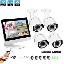 Wireless Surveillance System Network 10.1 Inch LCD Monitor NVR Recorder Wifi Kit 4CH 720P HD Video Inputs Security Camera