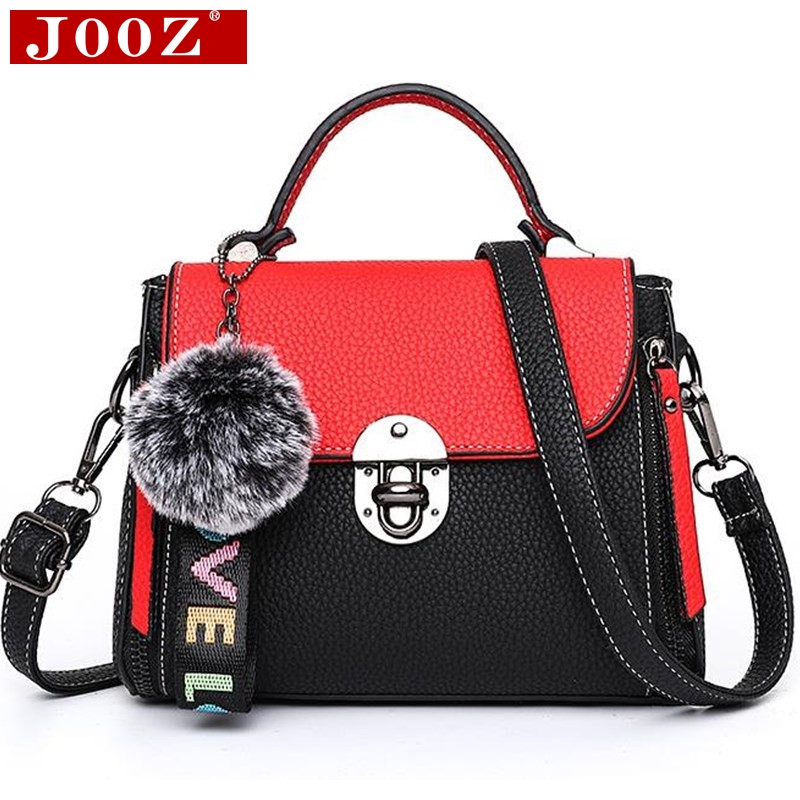 JOOZ Hit color womens handbags leather Ladies hand bags 2018 New women bag shoulder Bag bolsos Fur Toy Women Messenger Bags