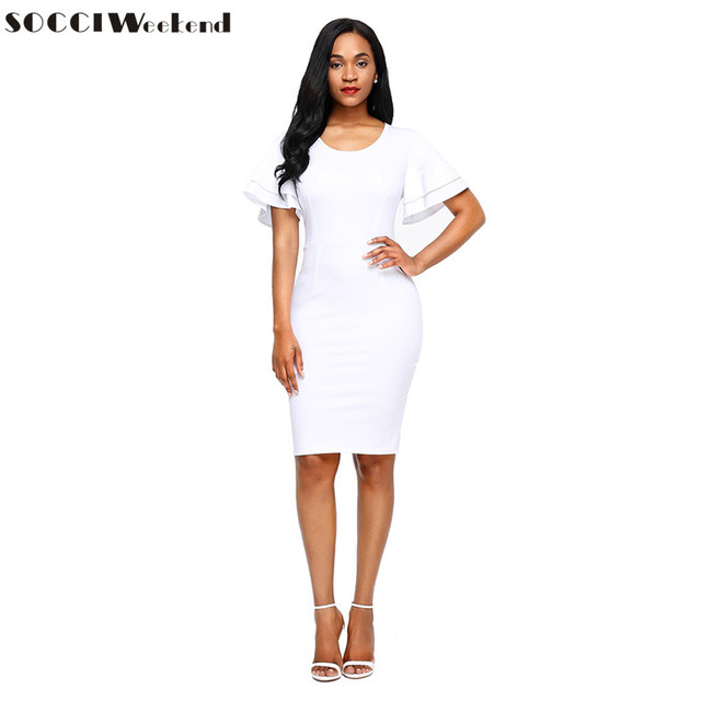 41110dedcf SOCCI Vestido blanco 2017 O Cuello Corto de Cóctel de fin de Semana Vestidos  de fiesta