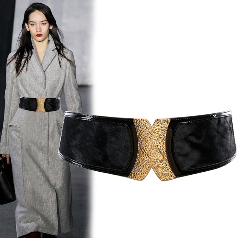 Lady Fashion Waistband Women's Joker Fashion Elastic Down Coat Wide Waistband Leather Horse Hair Trim Belt  B-8112