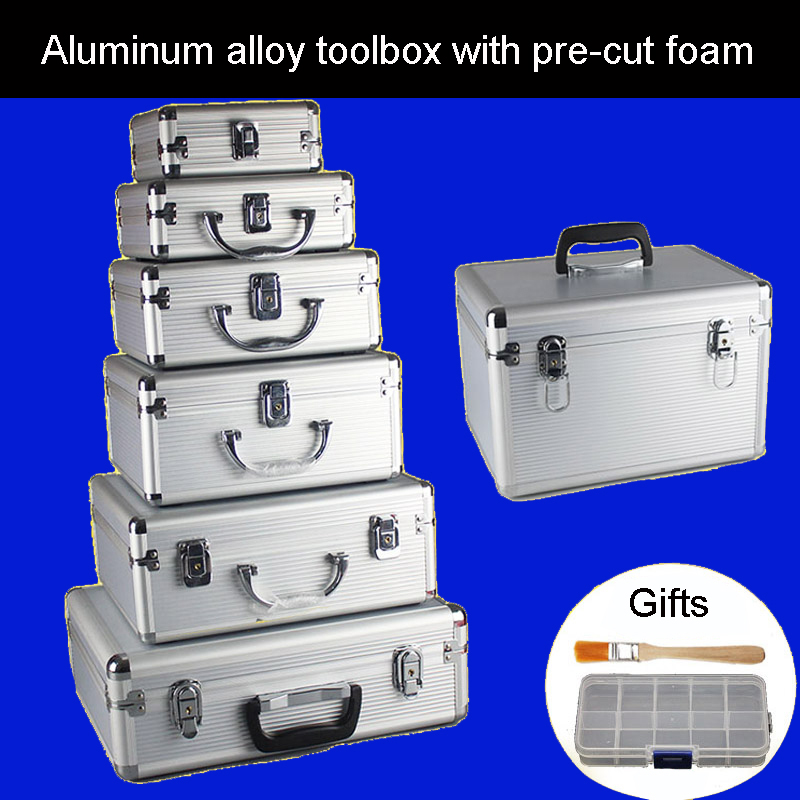 Aluminum Alloy Toolbox Suitcase Instrument Box Equipment File Box Cosmetic Case Aluminum Case Tool Box With Sponge Free Shipping