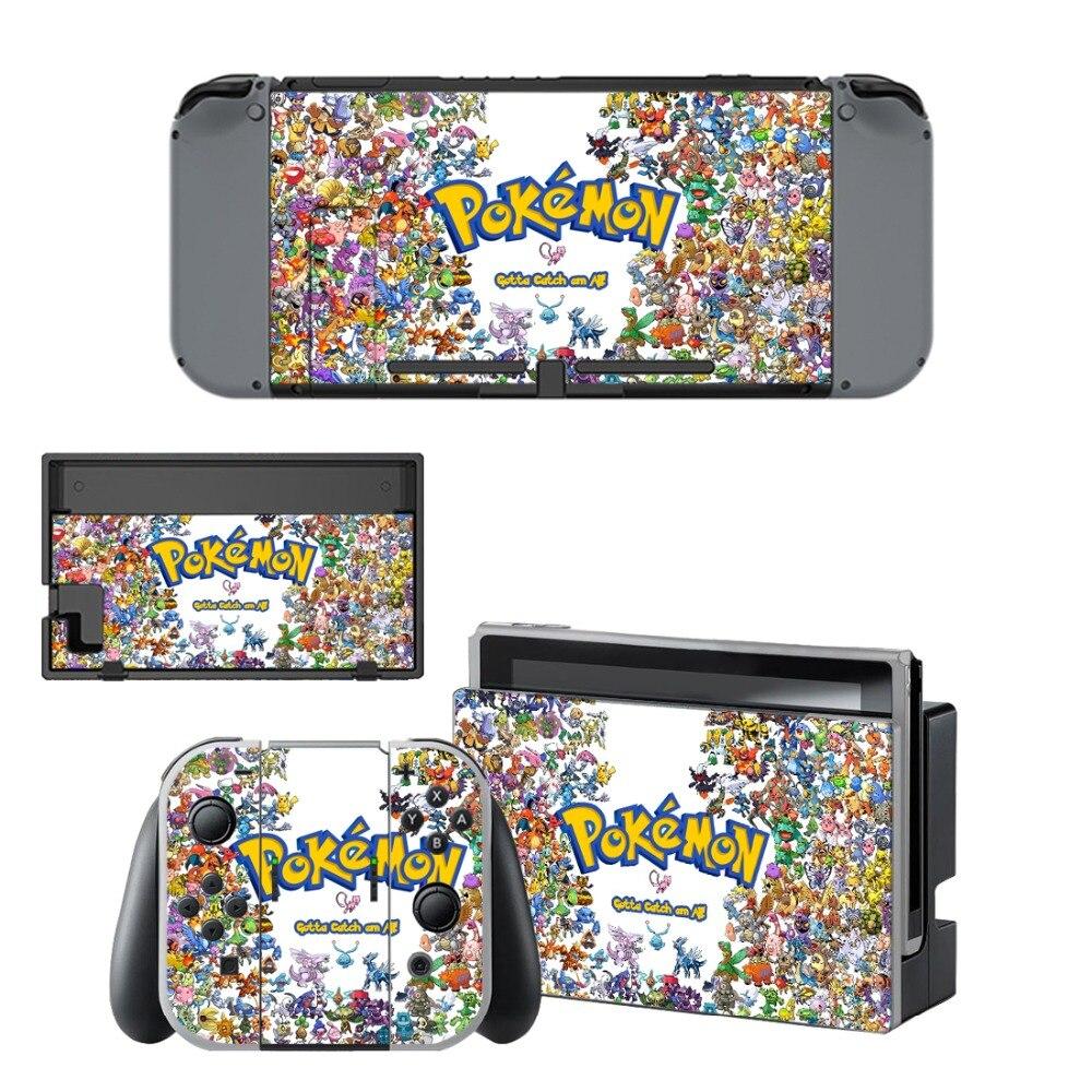 Autocollant de protection de la peau en vinyle Anime Pokemon GO pour Console Nintendo Switch NS + contrôleur + support de protection de la peau