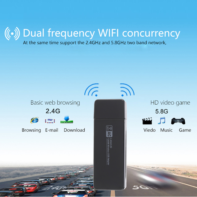 1200Mbps 11AC USB 3.0 2.4G/5.8G Dual Band Wireless WiFi Adapter Receiver Network Card 802.11ac/a/b/g/n for laptop desktop PC LOL