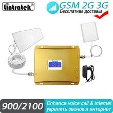 Signaal Booster 2G 3G Cellular 2100 900 Gsm Wcdma Repeater Voor Mobiele Telefoon Signaalversterker Lintratek Met Lcd display Set #45