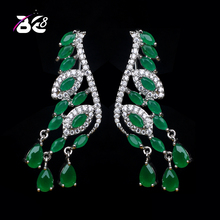 Be 8 Fashion Green Color High Quality CZ Stud Earrings for Women Trendy White Gold Color Earrings Wholsale Free Shipping E-338