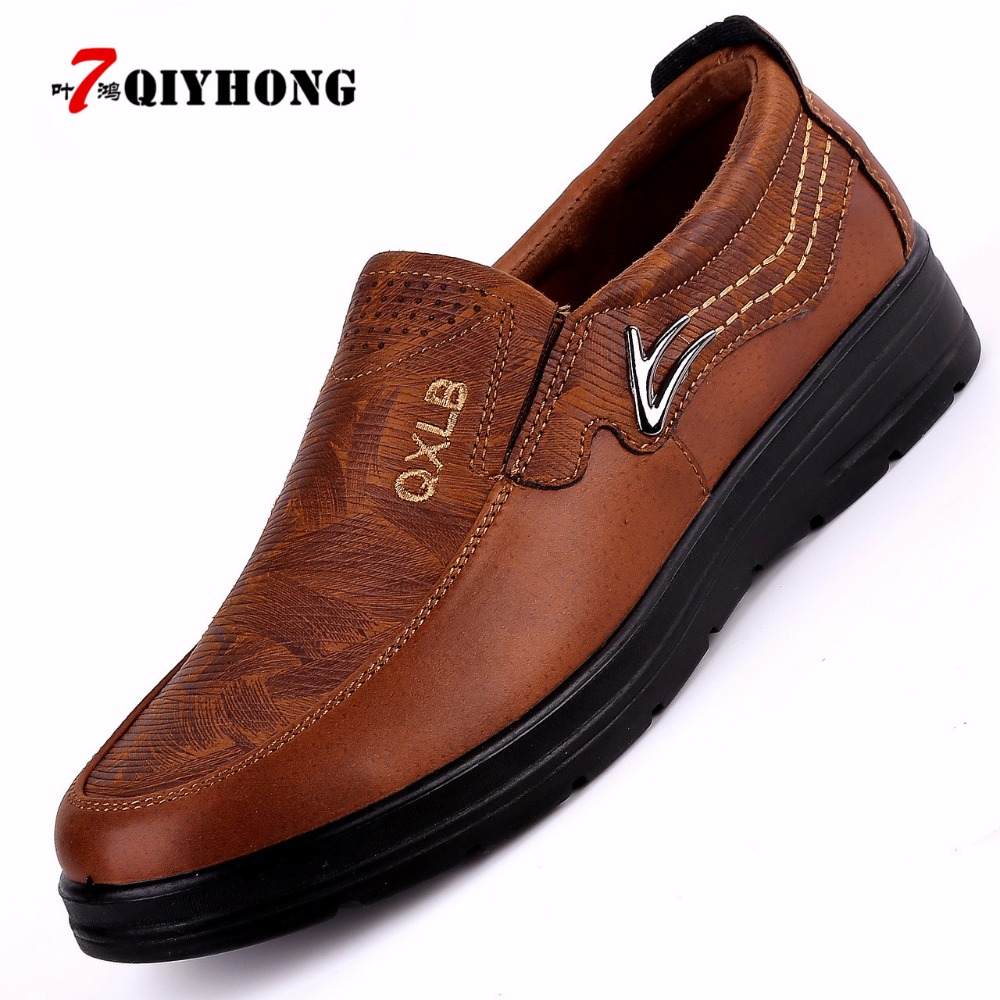 QIYHONG New Trademark Size 38-47 Upscale Men Casual Shoes Fashion Leather Shoes For Men Summer Men'S Flat Shoes Dropshipping(China)