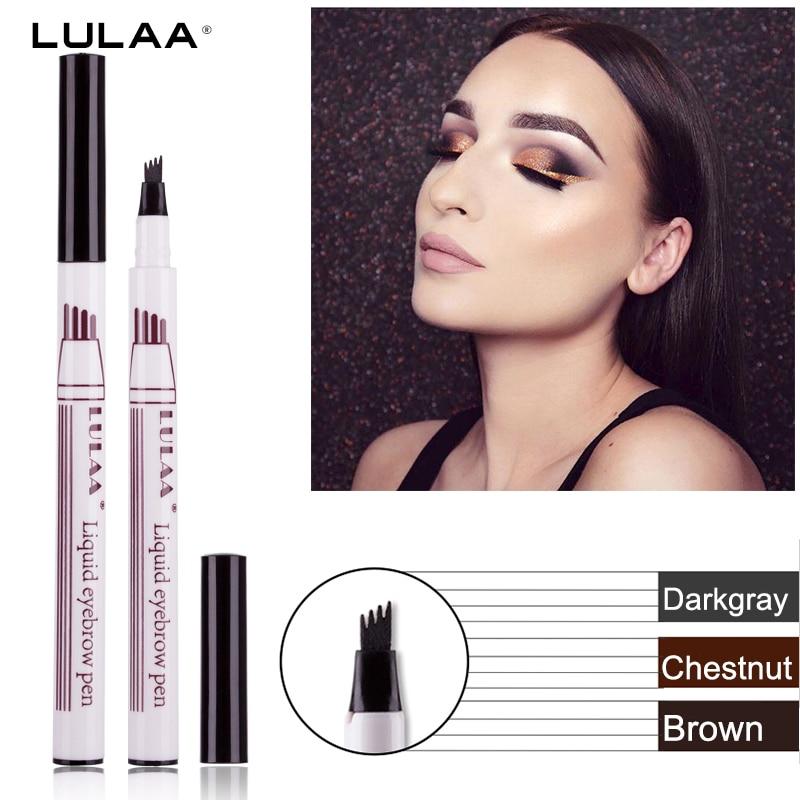 LULAA  Eyebrow Pencil Waterproof Fork Tip Eyebrow Tattoo Pen 4 Head Fine Sketch Liquid Eyebrow Enhancer Dye Tint Pen