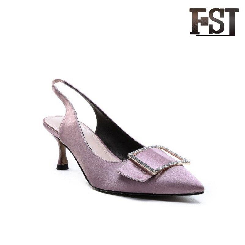 FSJ véritable peau de mouton rose bleu Satin femme été Slingbacks pompes boucle sangle robe classiques neutre bureau carrière chaussures
