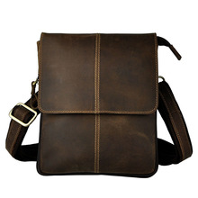Brand Crazy Horse Genuine Leather Casual Travel Bag Men's Shoulder Bag Messenger Bags Belt Waist Pack Zipper Vintage Style